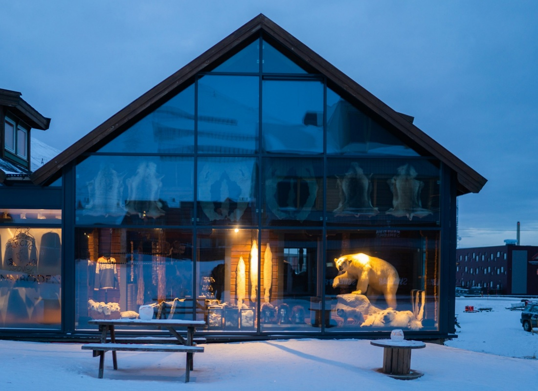 Questa isola è la casa dell'orso bianco. Il turismo, ying e yang, si nutre e si culla di negozi di design meravigliosi dove spiccano,  nella notte, orsi imbalsamati. In vendita.